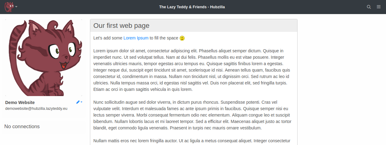 Simple two-column layout with profile widget